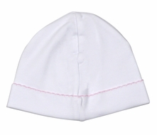 The Proper Peony Layette - Baby Girls Pima Cotton Hat - White with Pink Trim