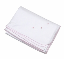 The Proper Peony Layette Pima Cotton Receiving Blanket - White with Pink Embroidery