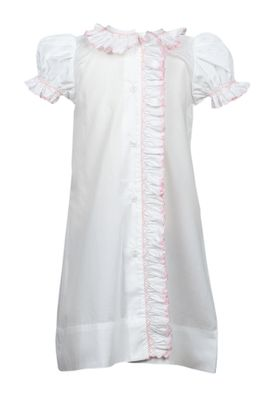 The Proper Peony Legacy Baby Girls Layette Gown - White Smocked in Pink