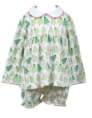 The Proper Peony Parkside Girls Green Channing Christmas Trees Bloomer Set