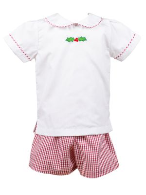 Pre-Order: The Proper Peony Toddler Boys Red Garnet Embroidery Holly Shorts Set