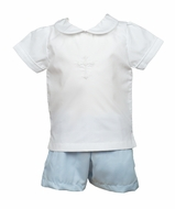 The Proper Peony Legacy Toddler Boys White / Blue Cross Shorts Set