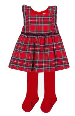 Tutto Piccolo Girls Red Holiday Plaid Pinafore Dress with Red Tights