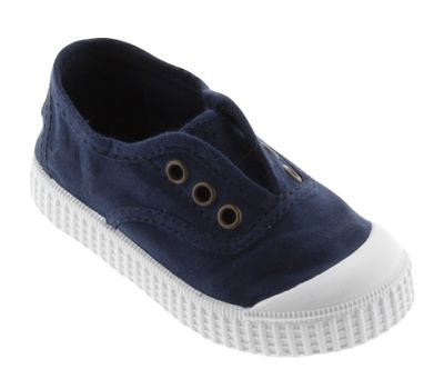 Victoria Shoes - 1915 No Laces Canvas Slip On Sneakers - Marino Blue