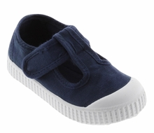 Victoria Shoes - Canvas T-Straps - 1915 Washed Marino Blue