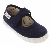 Victoria Shoes - Girls Canvas Mary Janes - Marino Navy Blue