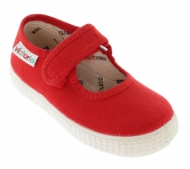 Victoria Shoes - Girls Canvas Mary Janes - Rojo Red