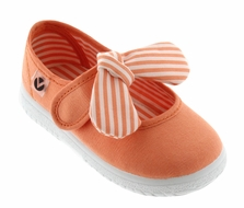 Victoria Shoes - Girls Canvas Mary Janes - Striped Bow - Coral Orange