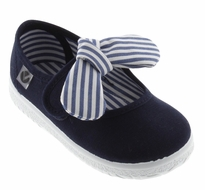Victoria Shoes - Girls Canvas Mary Janes - Striped Bow - Marino Blue