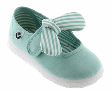 Victoria Shoes - Girls Canvas Mary Janes - Striped Bow - Mint
