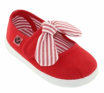 Victoria Shoes - Girls Canvas Mary Janes - Striped Bow - Red