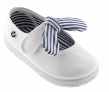 Victoria Shoes - Girls Canvas Mary Janes - Striped Bow - White