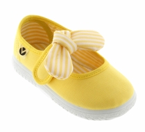 Victoria Shoes - Girls Canvas Mary Janes - Striped Bow - Yellow