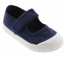 Victoria Shoes - Girls Canvas Mary Janes - Washed Marino Blue