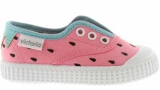 Victoria Shoes - Girls Canvas Slip On Sneaker - Pink Watermelon