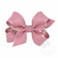 Wee Ones Girls Canvas Linen and Satin Overlay Bow - Dusty Rose Pink