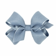 Wee Ones Girls Canvas Linen and Satin Overlay Bow - French Blue