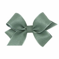 Wee Ones Girls Canvas Linen and Satin Overlay Bow - Shale Green