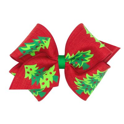 Wee Ones Girls Christmas Novelty Hair Bow - Christmas Trees on Red