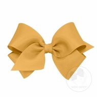 Wee Ones Girls Clasic Grosgrain Bow on Clip - Old Gold