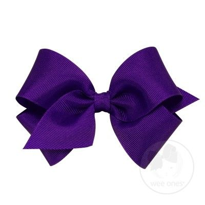 Wee Ones Girls Clasic Grosgrain Bow on Clip - Purple