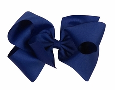 Wee Ones Girls Classic Grosgrain Bow on Clip - Royal Blue