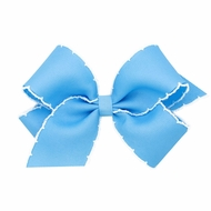 Wee Ones Girls Classic Moonstitch Bow - Millenium Blue with White