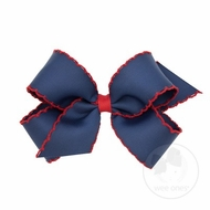Wee Ones Girls Classic Moonstitch Bow - Navy Blue with Red
