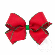 Wee Ones Girls Classic Moonstitch Bow - Red with Green