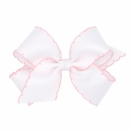 Wee Ones Girls Classic Moonstitch Bow - White with Light Pink