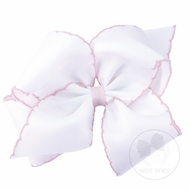 Wee Ones Girls Classic Moonstitch Hair Bow - White with Light Pink
