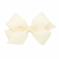 Wee Ones Girls Dressy Bow - Grosgrain & Organza Overlay - Off White Ivory