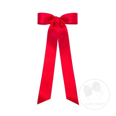 Wee Ones Girls French Satin Bow with Streamers - Ruby Red