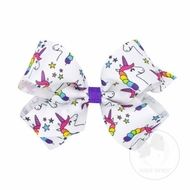 Wee Ones Girls Girl Power Unicorn Print Bow on Clip