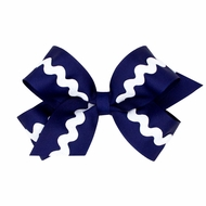 Wee Ones Girls Grosgrain Bow - Navy Blue with White Rick Rack