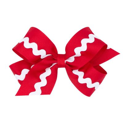 Wee Ones Girls Grosgrain Bow - Red with White Rick Rack