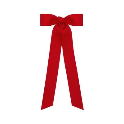 Wee Ones Girls Grosgrain Bow with Streamer Tails - Red