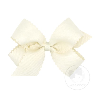 Wee Ones Girls Grosgrain Hair Bow on Clip - Scallop Edge - Antique White