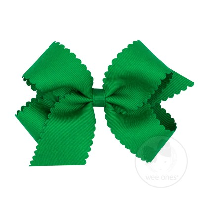 Wee Ones Girls Grosgrain Hair Bow on Clip - Scallop Edge - Green