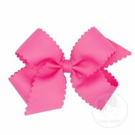 Wee Ones Girls Grosgrain Hair Bow on Clip - Scallop Edge - Hot Pink