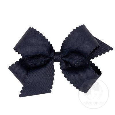 Wee Ones Girls Grosgrain Hair Bow on Clip - Scallop Edge - Navy Blue