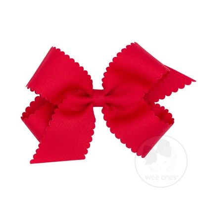 Wee Ones Girls Grosgrain Hair Bow on Clip - Scallop Edge - Red