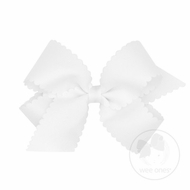 Wee Ones Girls Grosgrain Hair Bow on Clip - Scallop Edge - White