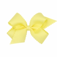 Wee Ones Girls Grosgrain Hair Bow on Clip - Scallop Edge - Yellow
