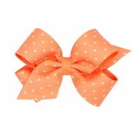 Wee Ones Girls Grosgrain Hair Bow - Tiny Dots - Apricot