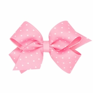 Wee Ones Girls Grosgrain Hair Bow - Tiny Dots - Pearl Pink