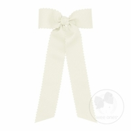 Wee Ones Girls Grosgrain Hair Bow with Streamers - Scallop Edge - Antique White