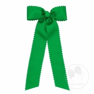 Wee Ones Girls Grosgrain Hair Bow with Streamers - Scallop Edge - Green