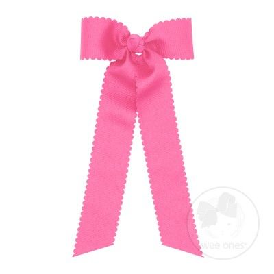 Wee Ones Girls Grosgrain Hair Bow with Streamers - Scallop Edge - Hot Pink