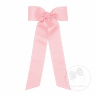 Wee Ones Girls Grosgrain Hair Bow with Streamers - Scallop Edge - Light Pink